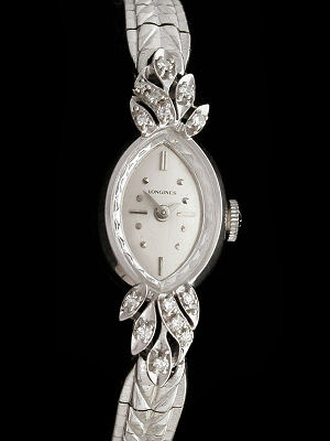 Classic Ladies Longines Watch Diamond Gold Cocktail Dress