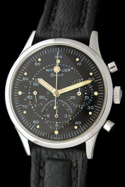 Wittnauer Professional Large Black Dial Vintage NASA Apollo Chronograph Watch
