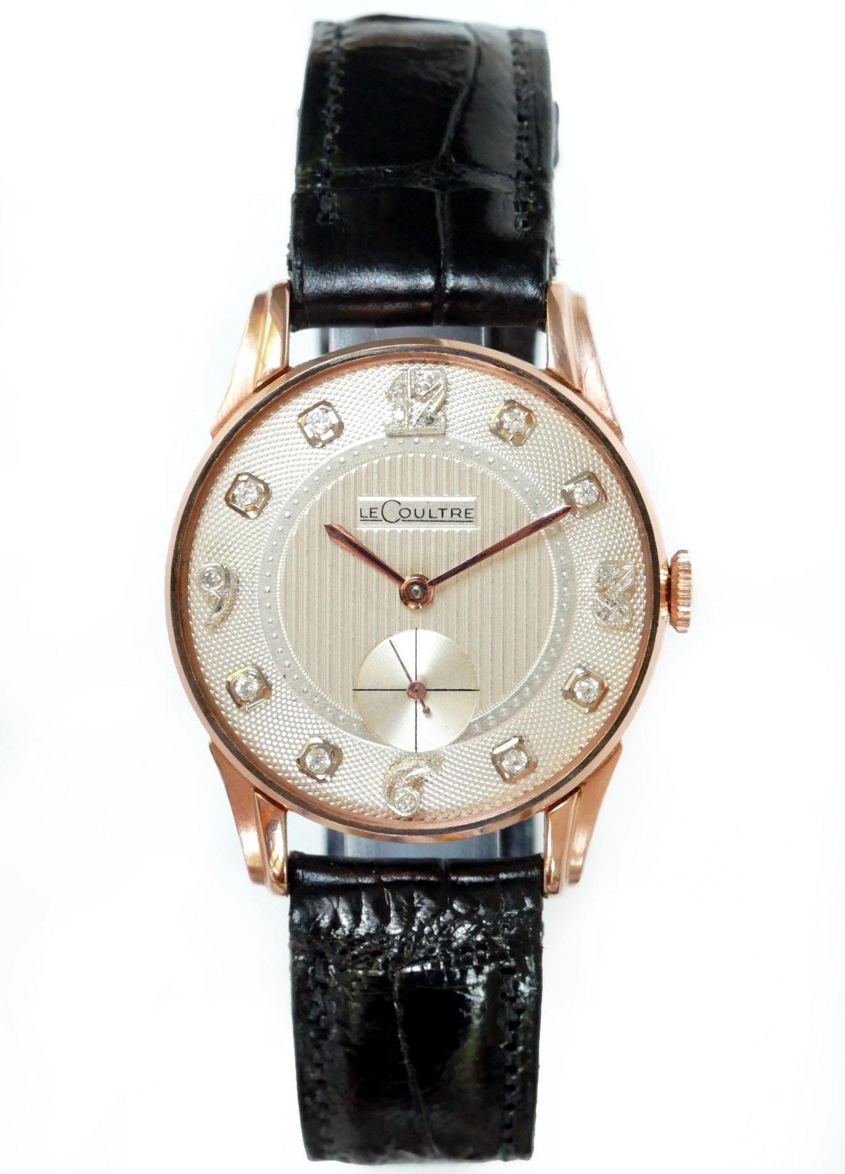 lecoultre diamond dial rose gold men 39 s watch 1950 39 s. Black Bedroom Furniture Sets. Home Design Ideas