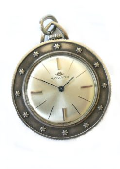 Movado Sterling Silver Coin Necklace Watch