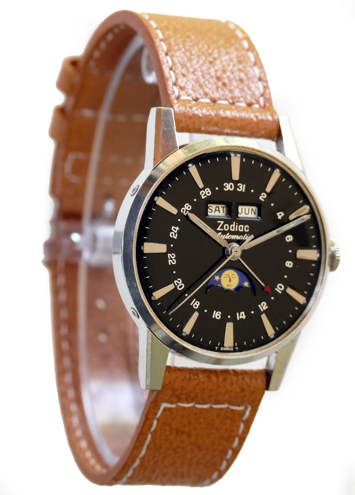 Zodiac moonphase automatic steel with black dial men 39 s calendar watch for Calendar watches