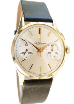 Vintage Jules Jurgensen Solid Gold Dress Chronograph