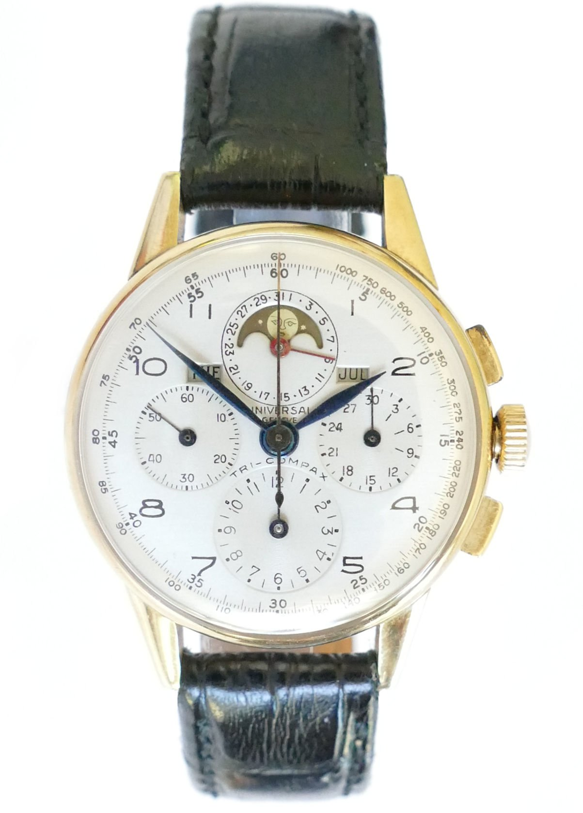 Universal Geneve Tri-Compax 14K Solid Gold Vintage Chronograph Watch