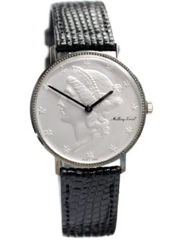 Mathey-Tissot Sterling Silver Vintage Coin Watch
