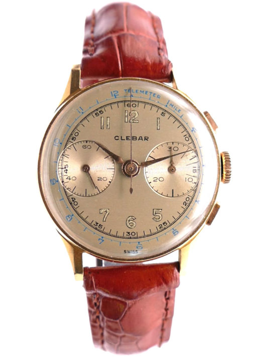 Clebar Solid 18K Gold Vintage Chronograph